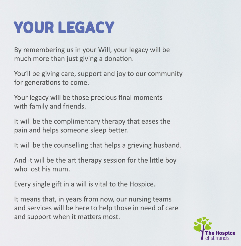 Hospice of St Francis legacy appeal creative