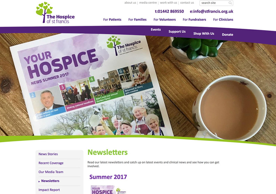 Hospice of St Francis newsletters