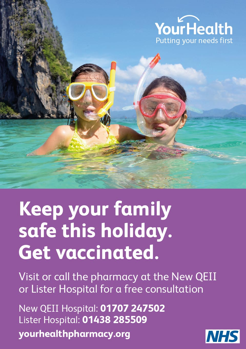 NHS travel vaccination poster